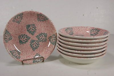 Made In Italy Tre Ci Set Of 8 Pink Sponged Soup Bowls W/ Teal Leaf ...