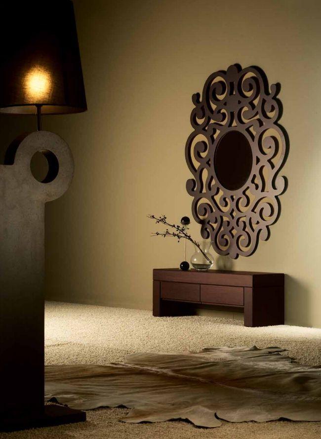 Espejos de dise o en madera modelo cassandra chocolate for Disenos de marcos para espejos grandes