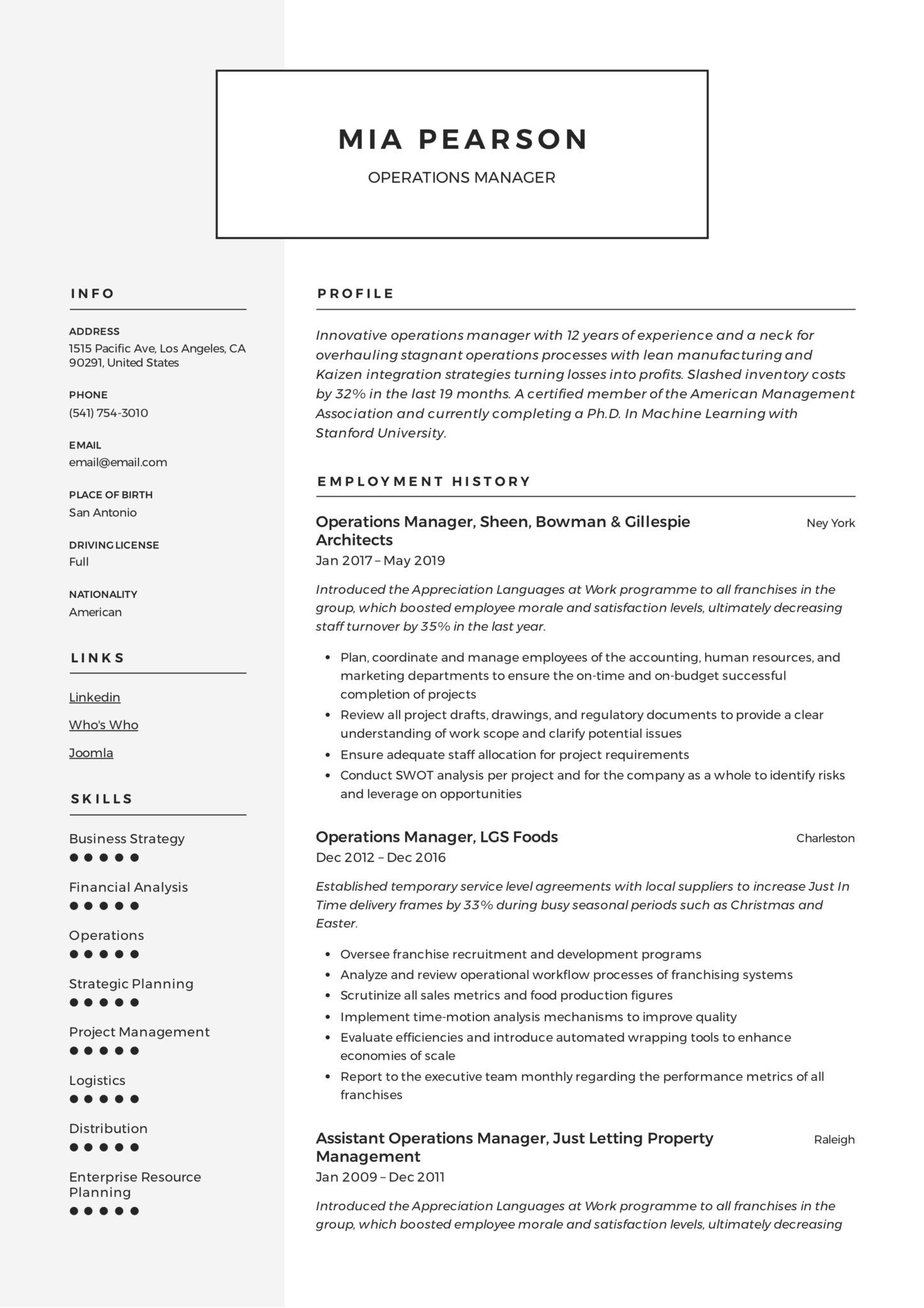 Operations Manager Resume & Writing Guide +12 Examples