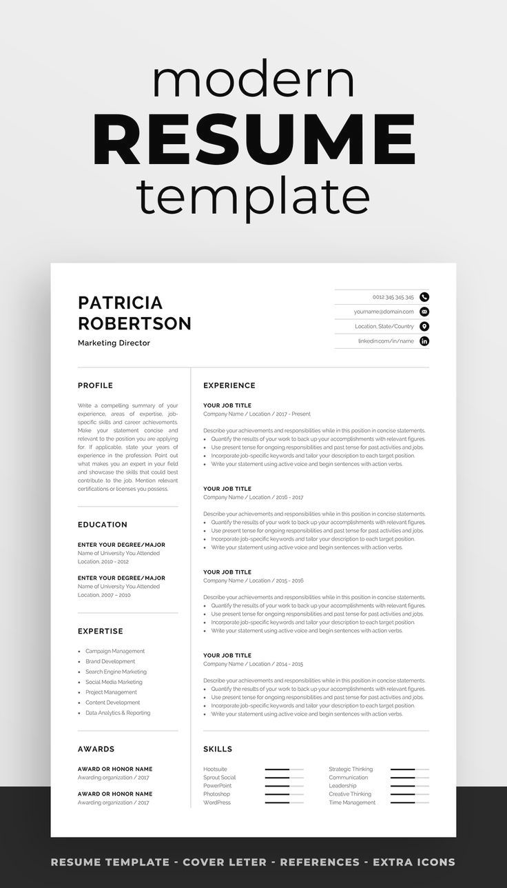 Professional Resume Template Instant Download, 1 Page