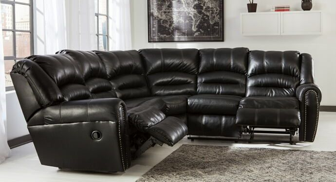 2 Pc Manzanola Collection Black Colored Vinyl Upholstered Sectional Sofa Set With Recliners On The Ends This Includes Raf Love Seat Half Wedge And