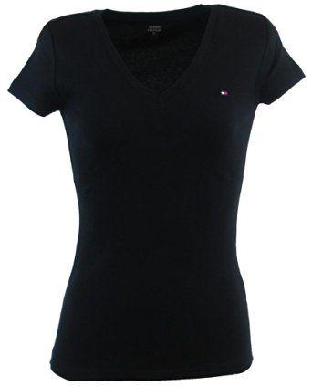 b506de90e92 Tommy Hilfiger para mujer con cuello en V color sólido camiseta del  logotipo - L…