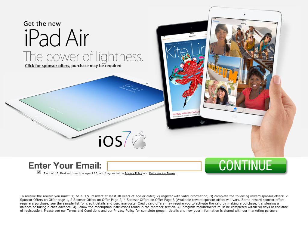 get free ipad air  apply here