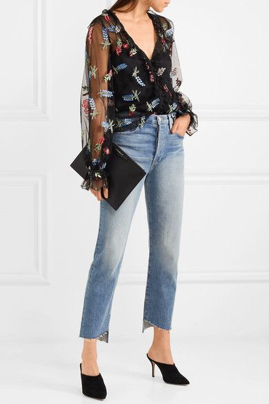 Time Stands Still Ruffled Embroidered Tulle Blouse - Black Alice McCall Cheapest Price Online Discount Top Quality IWaCaTcig