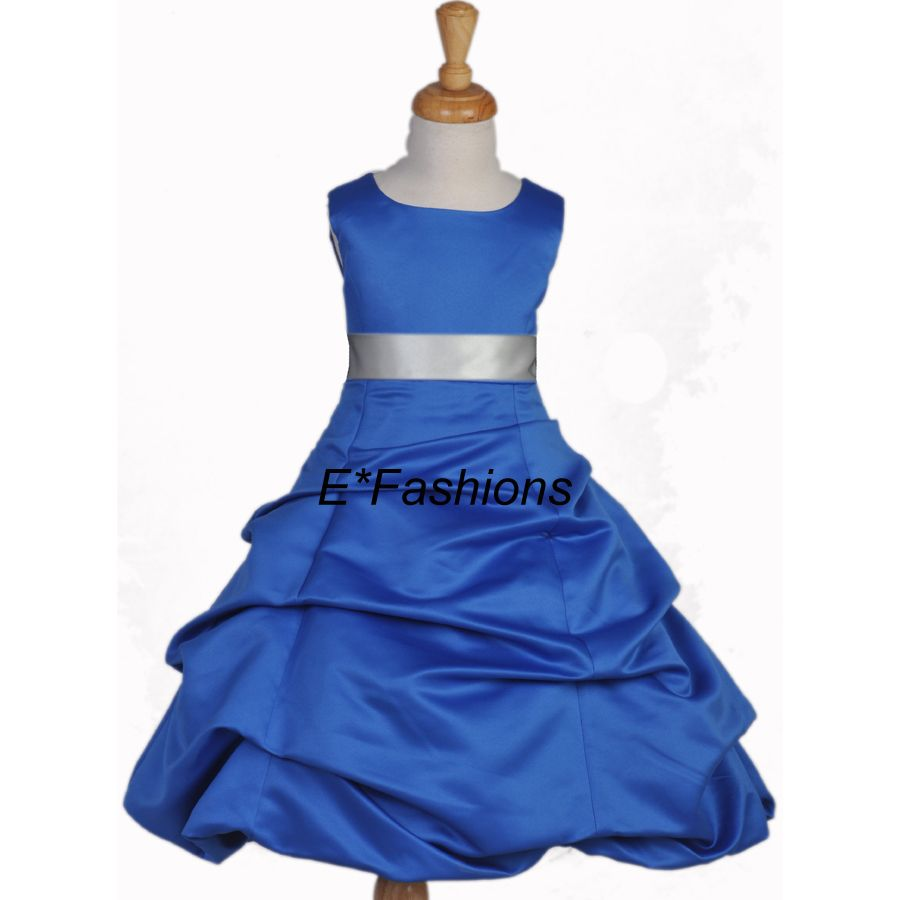 Royal blue silver wedding girl dress 4 6 8 10 12 14 16 blue royal blue silver wedding girl dress 4 6 8 10 12 14 16 ebay ombrellifo Image collections