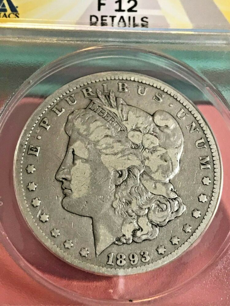 1893CC Cleaned Silver Dollar Coin 1 ANACS F12