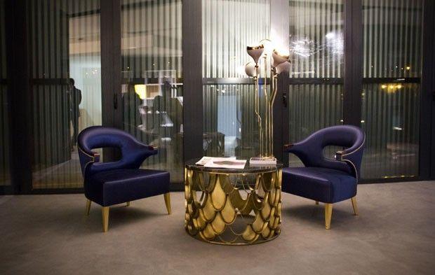 Perfect blue and gold decor! #BRABBU #centertable #armchairs