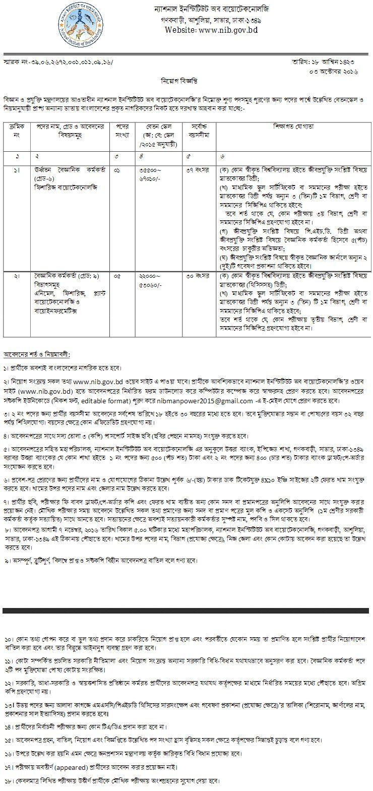 National Institute of Biotechnology Job Circular | Job