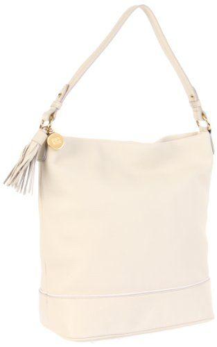 Tommy Hilfiger Tasseled Pebble Shoulder Bag,Winter White,One Size $178.00