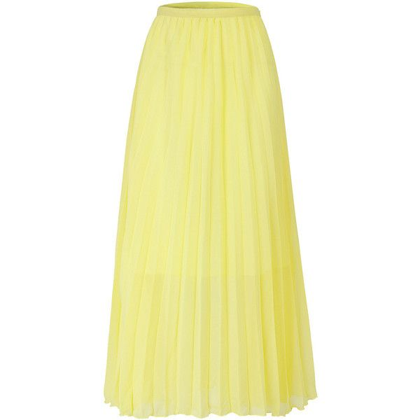 185be5e96bb17 Yoins Light Yellow Chiffon Pleated Maxi Skirt ($21) ❤ liked on Polyvore  featuring skirts, yoins, maxi skirt, yellow, yellow skirt, long chiffon  skirt, long ...