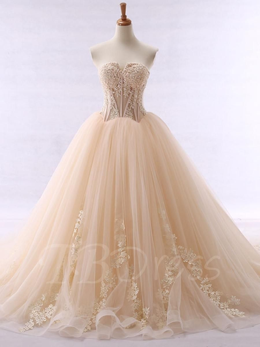Wedding dress with color  TBDress  TBDress Sweetheart Appliques Beaded Ball Gown Color
