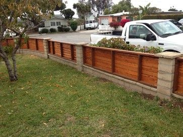 Horizontal Fence Panels With Concrete Pillars Wood Fence Design