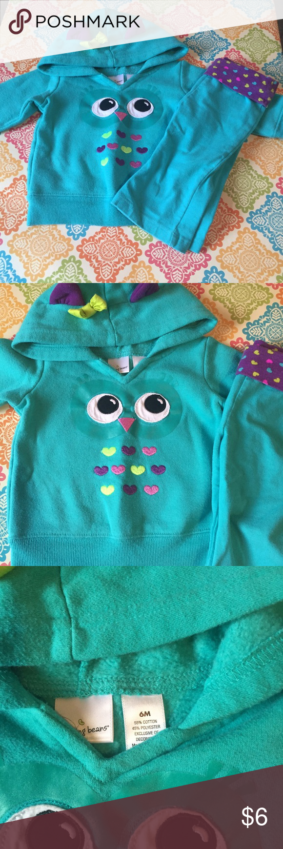 Jumping Beans sweatshirt and pants set Teal owl sweatshirt with purple ears and green bow on hood with matching bottoms Matching Sets