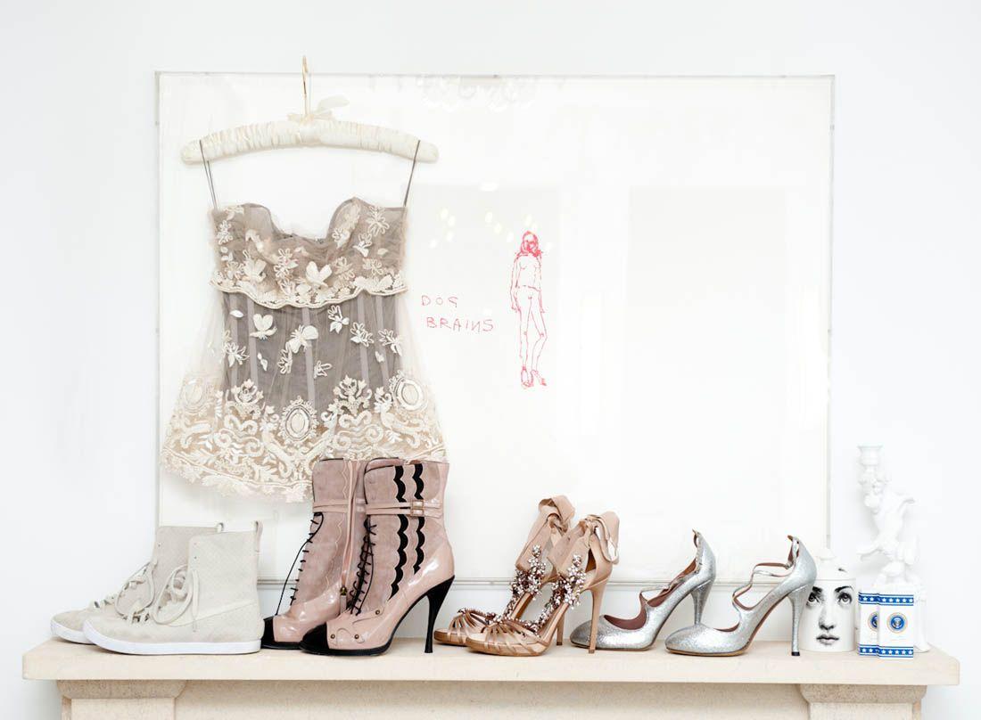 Top, Dolce & Gabbana; L to R Shoes, Nike, Tabitha Simmons, Tabitha Simmons, Tabitha Simmons