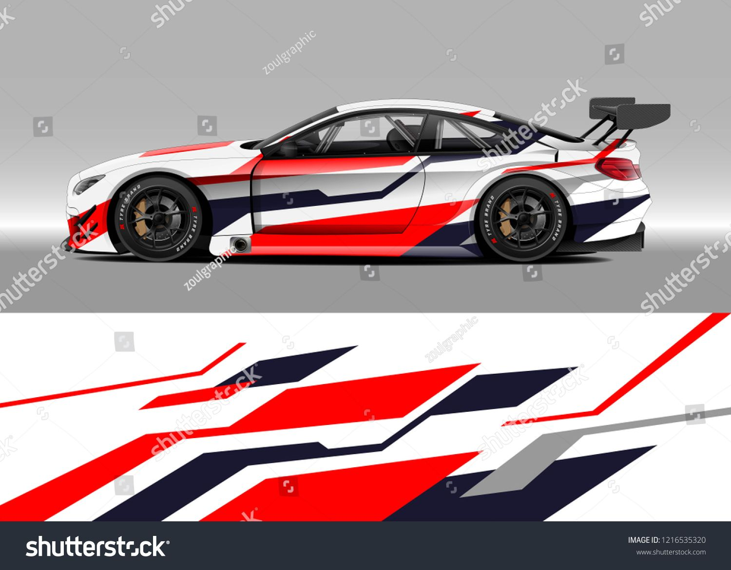 Racing Car Wrap Design Vector Graphic Abstract Stripe Racing