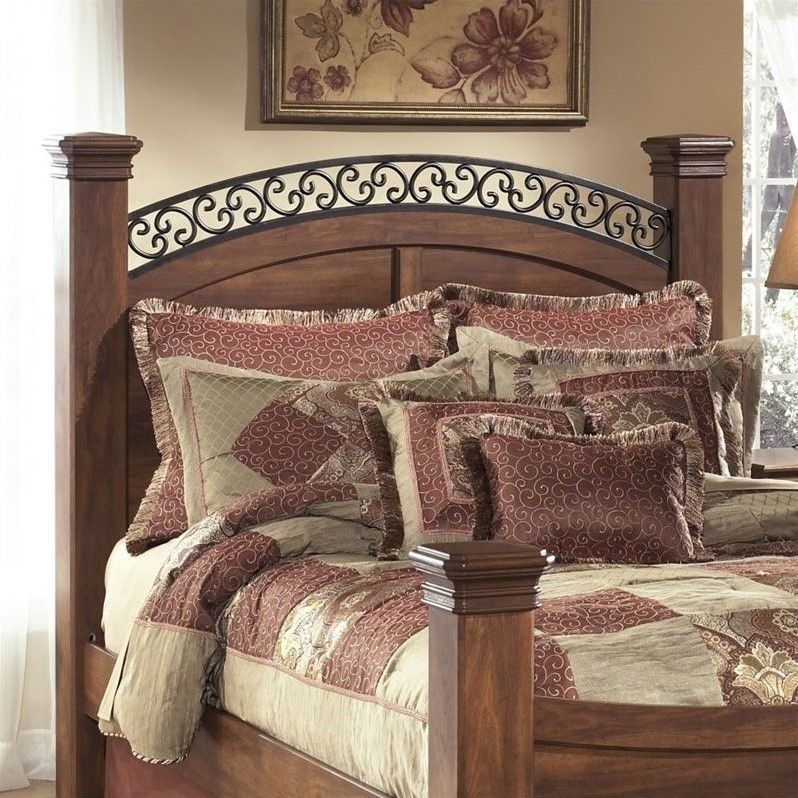 Ashley Timberline Wood Queen Poster Panel Headboard in