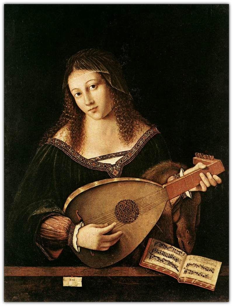 Bartolomeo Veneto |   Woman Playing a Lute  - c. 1520.