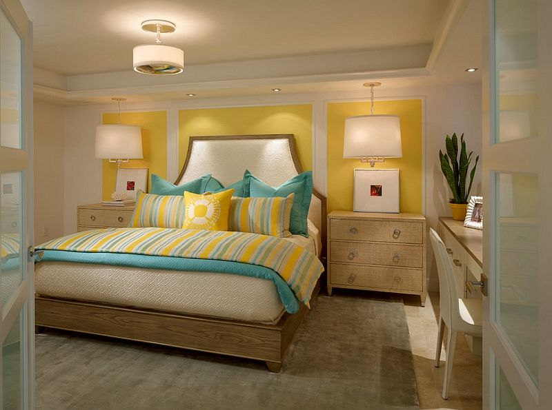 Amazing Small And Chic Bedroom In Yellow And Turquoise [From: Laura Miller Interior  Design] Idea