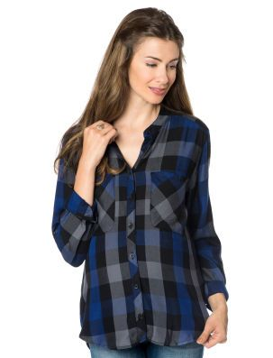<li>maternity shirt <li>long sleeve <li>shirt collar <li>button front <li>front pocket <li>plaid <li>rayon <li>rayon <li>machine washable <li>imported