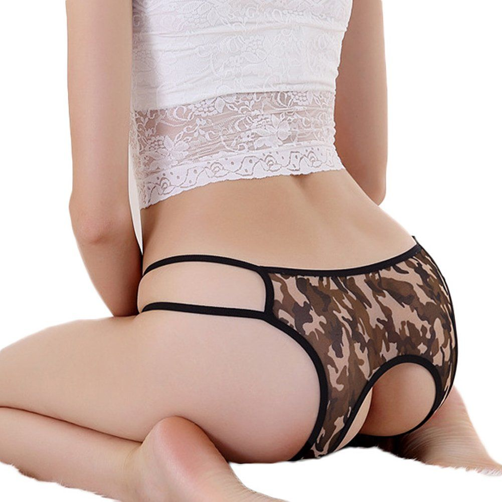 c6dbee4209 FUNOC® Women Leopard Crotchless Thongs G-string Lingerie Underwear (Army  Green)
