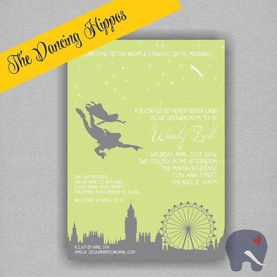 Never Land Peter Pan Baby Shower Invitation   Digital File, Printed  Invitations Available. CUSTOMIZE