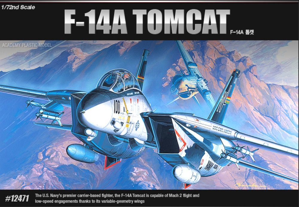 ACADEMY #12471 1//72 Plastic Model Kit F-14A Tomcat USN ACYS1679
