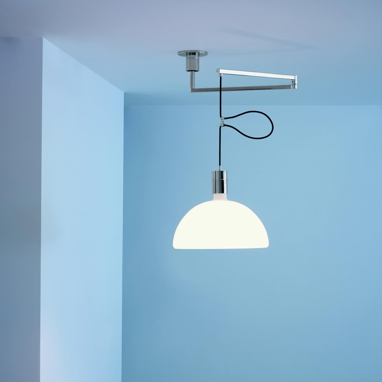 Asc pendant lamp with chromed metal parts cupshaped diffuser in
