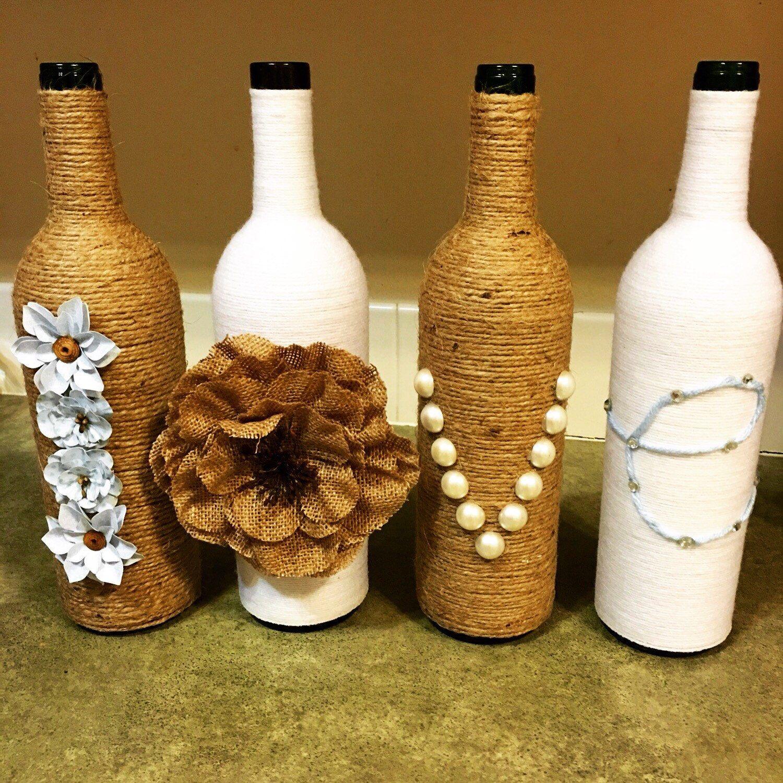 Wine Bottle Decor Rustic Decor Farmhouse Decor Country Decor Twine Wrapped Bottles Wine Bottle V Bottles Decoration Wine Bottle Vases Lighted Wine Bottles