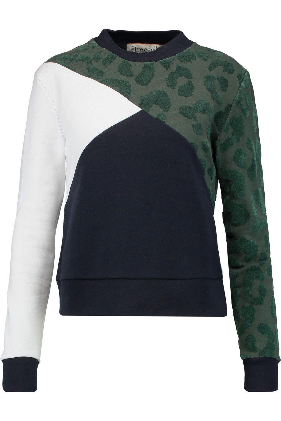 Shop on-sale Etre Cecile Color-block burnout cotton sweater ...