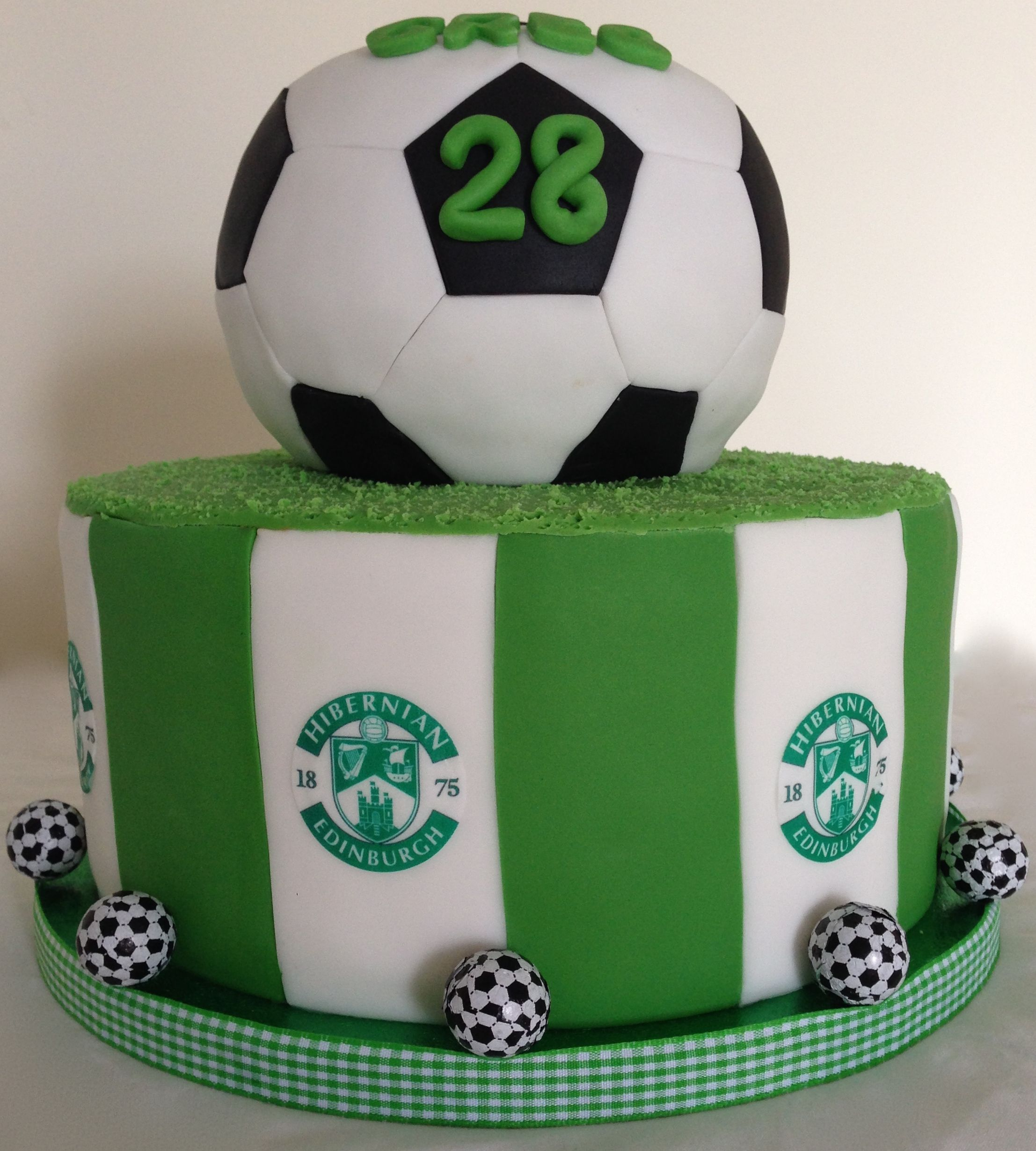 Hibernian FC Cake With Hidden Chocolate Footballs Inside