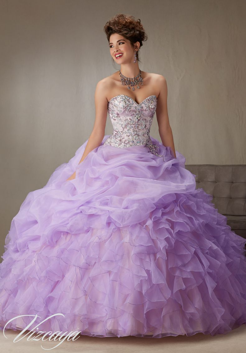 225110bf79 Quinceanera Dress Vizcaya Morilee 89064 Billowy Ruffled Organza Skirt with beaded  bodice Colors  Lilac champagne