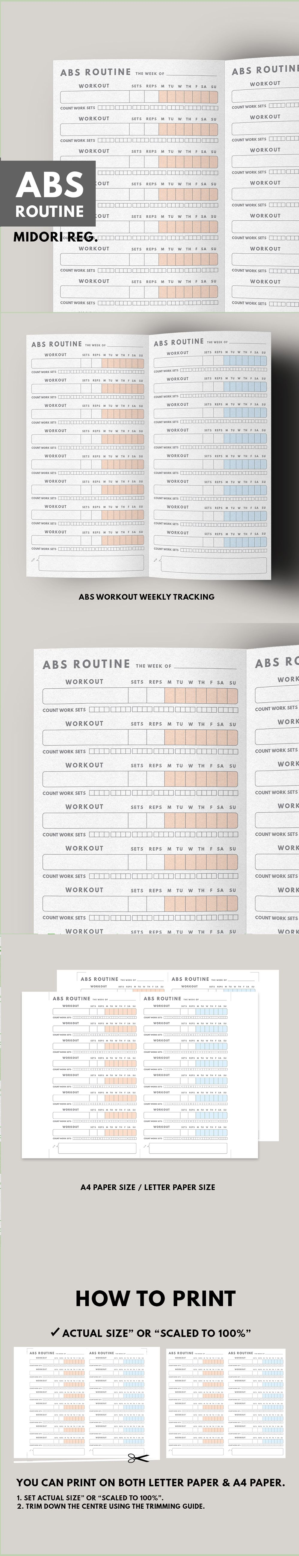 fitness planner abs workout routine fitness journal printable