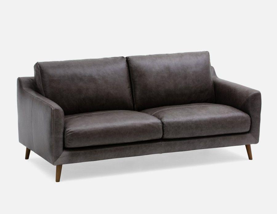MAKER   100 % Leather Sofa   Grey