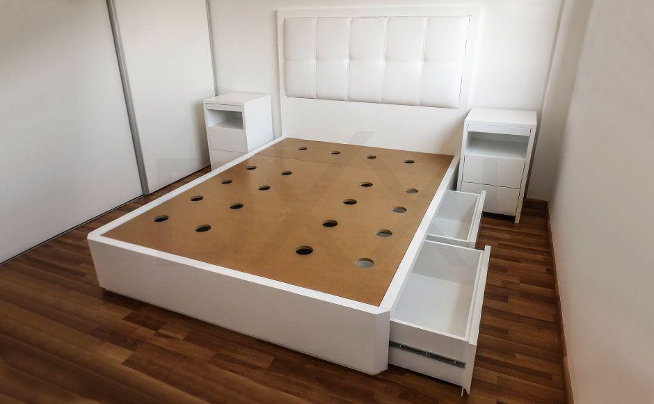 Cama con cajones nova laqueada fabricada para todos los for Casa silvia muebles y colchones olavarria buenos aires