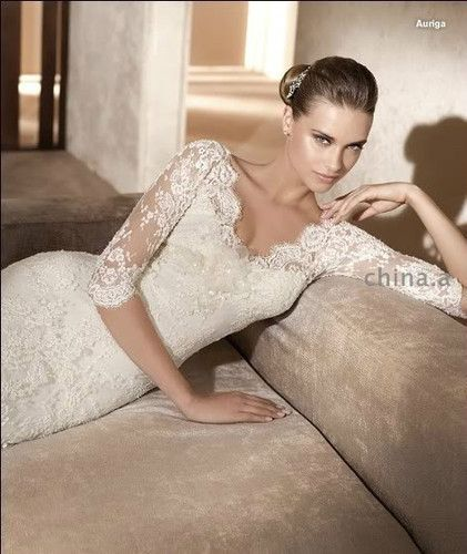 Have one to sell? Sell it yourself New White/Ivory 3/4 Lace Sleeves Wedding Dress Custom Size 2-4-6-8-10-12-14-16++