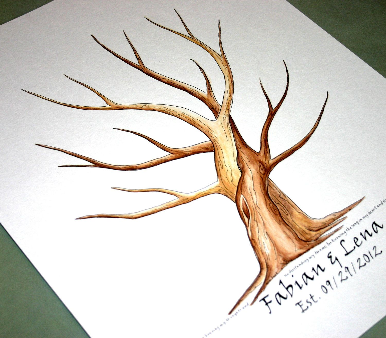 Custom Wedding Accessories Savannah Live Oak Thumbprint: Entwined Tree Wedding Guestbook Guest Book Tree