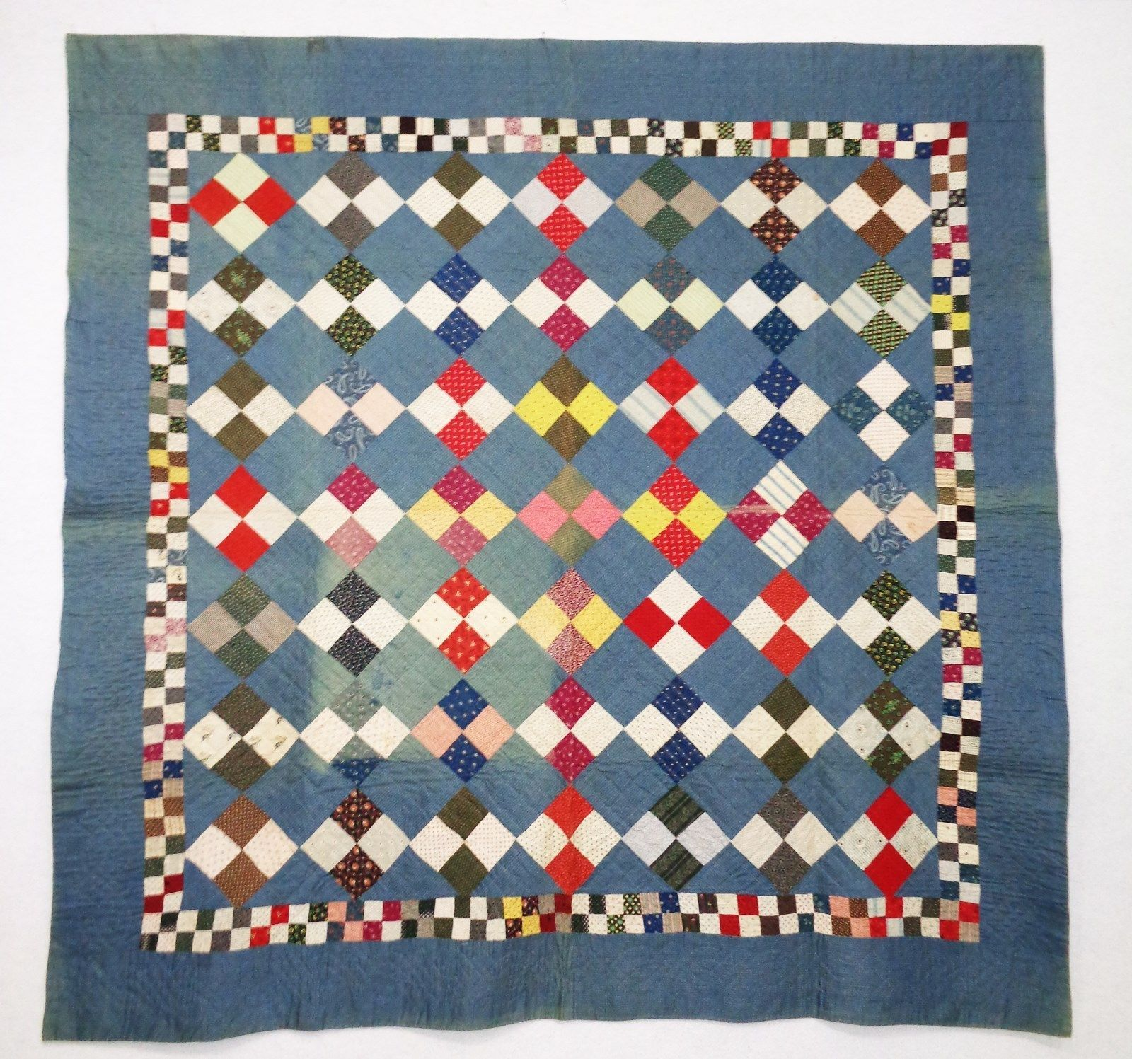 "Antique 4 Patch Quilt Circa 1900 | eBay seller joseblaw; label: ""Cumberland County, PA Quilt Documentation KB 022; 75.5"" x 74.25"""