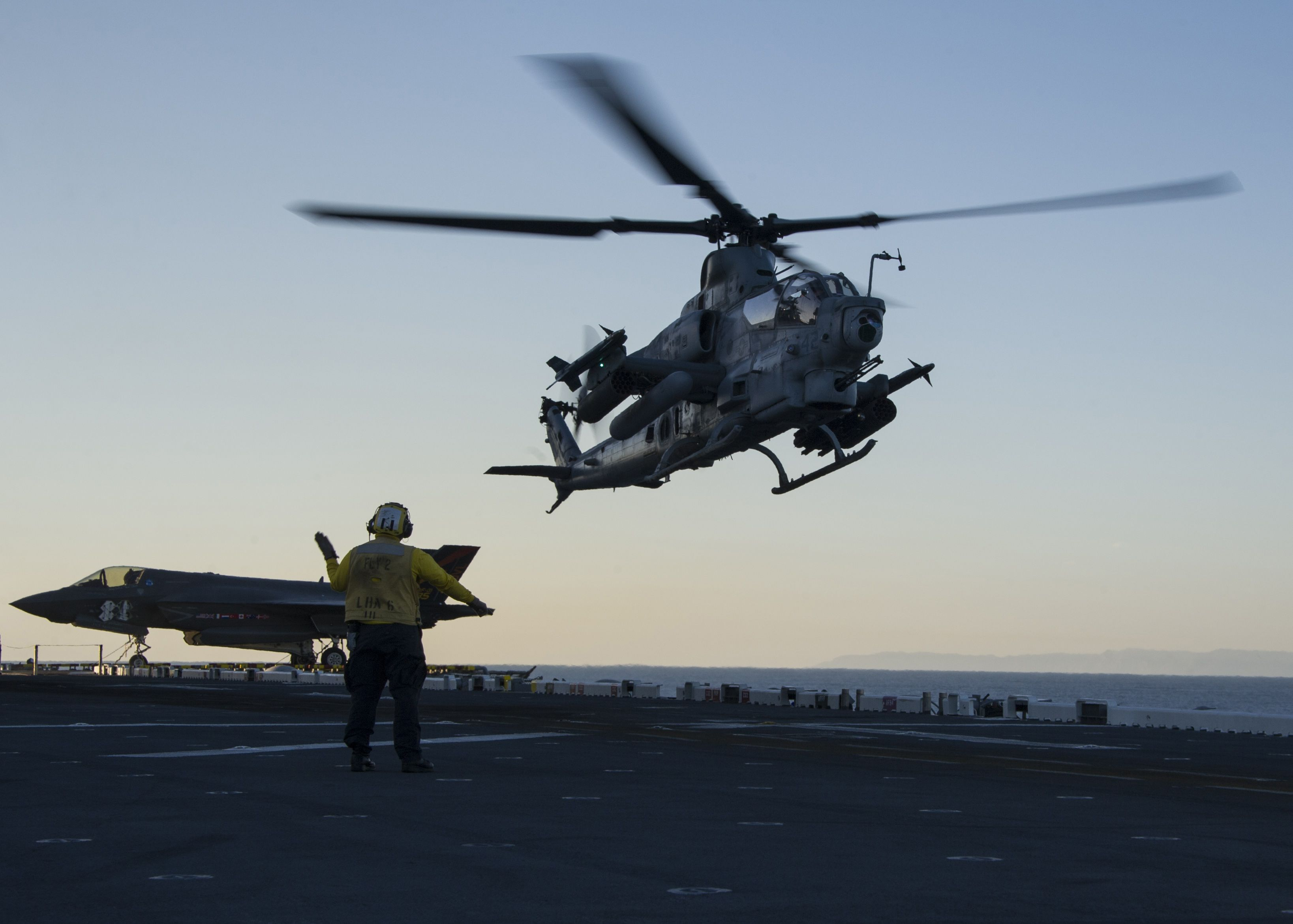 Assigned To Marine Operational Test And Evaluation Squadron 1 Takes Off From The Flight Deck Of Amphibious Assault Ship Uss America As Part Of The Air