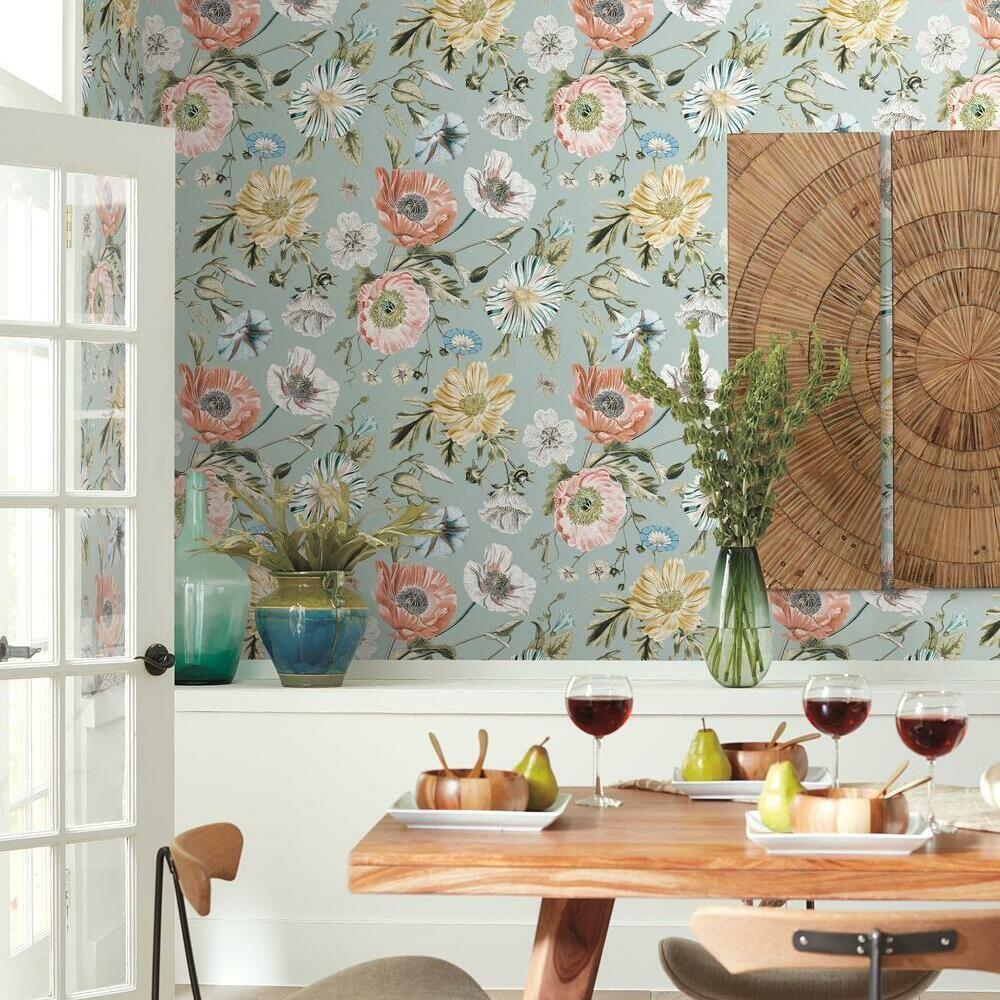 Vintage Poppy Peel And Stick Wallpaper In 2021 Peel And Stick Wallpaper Floral Bathroom Wallpaper Closet Wallpaper
