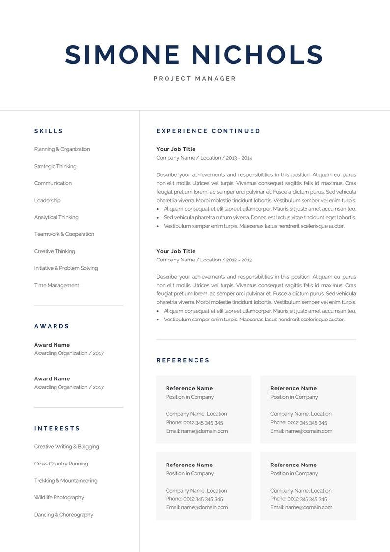 Professional Resume Template for Word & Pages Executive