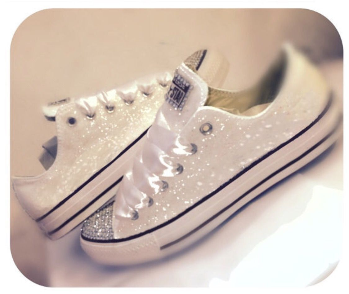 Sparkly White Glitter Converse All Star Wedding Bride Shoes 10 OFF COUPON CODE PINNED10