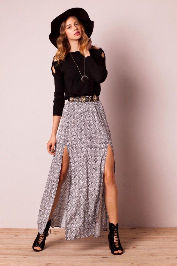 larga falda De abertura Abertura Con modelos Larga Modelos Falda OYq0YT
