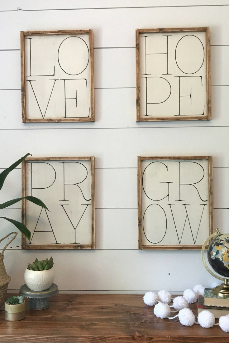 Set of 4 , Love, Hope, Pray, Grow, Gallery Wall decor, Gallery Wall ...