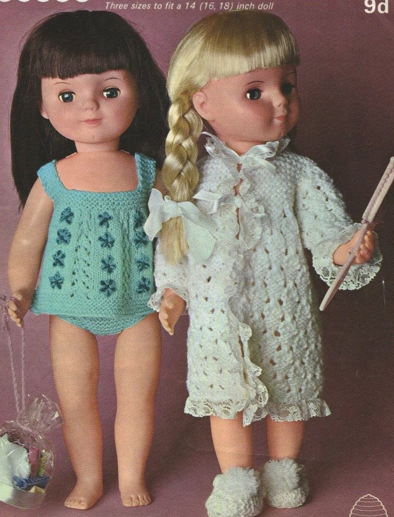Dolls Clothes Pdf Knitting Pattern 14 16 And 18 Inch Dolly