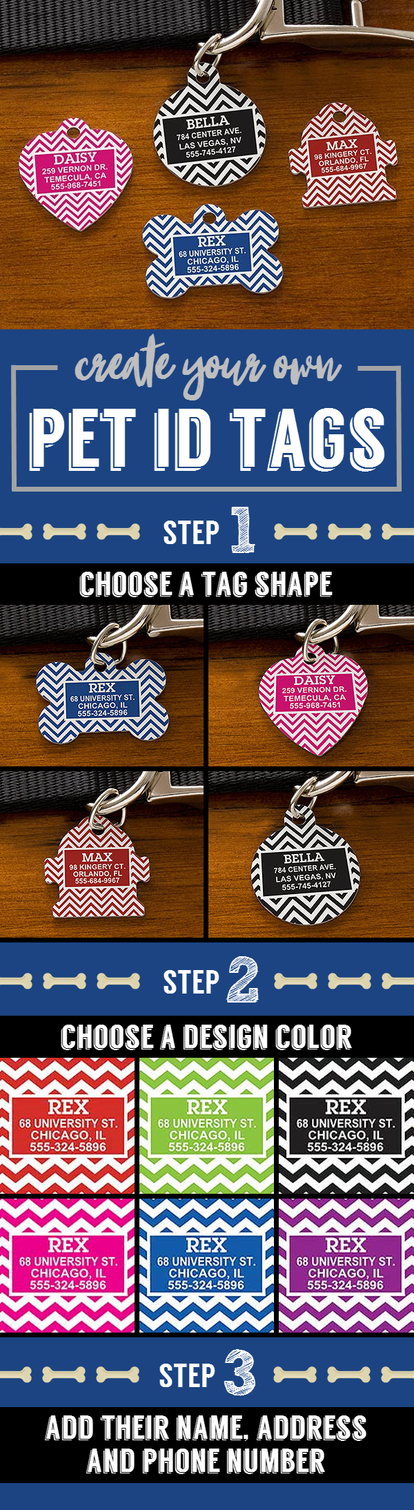 Chevron Personalized Pet ID Tags - Dog Bone