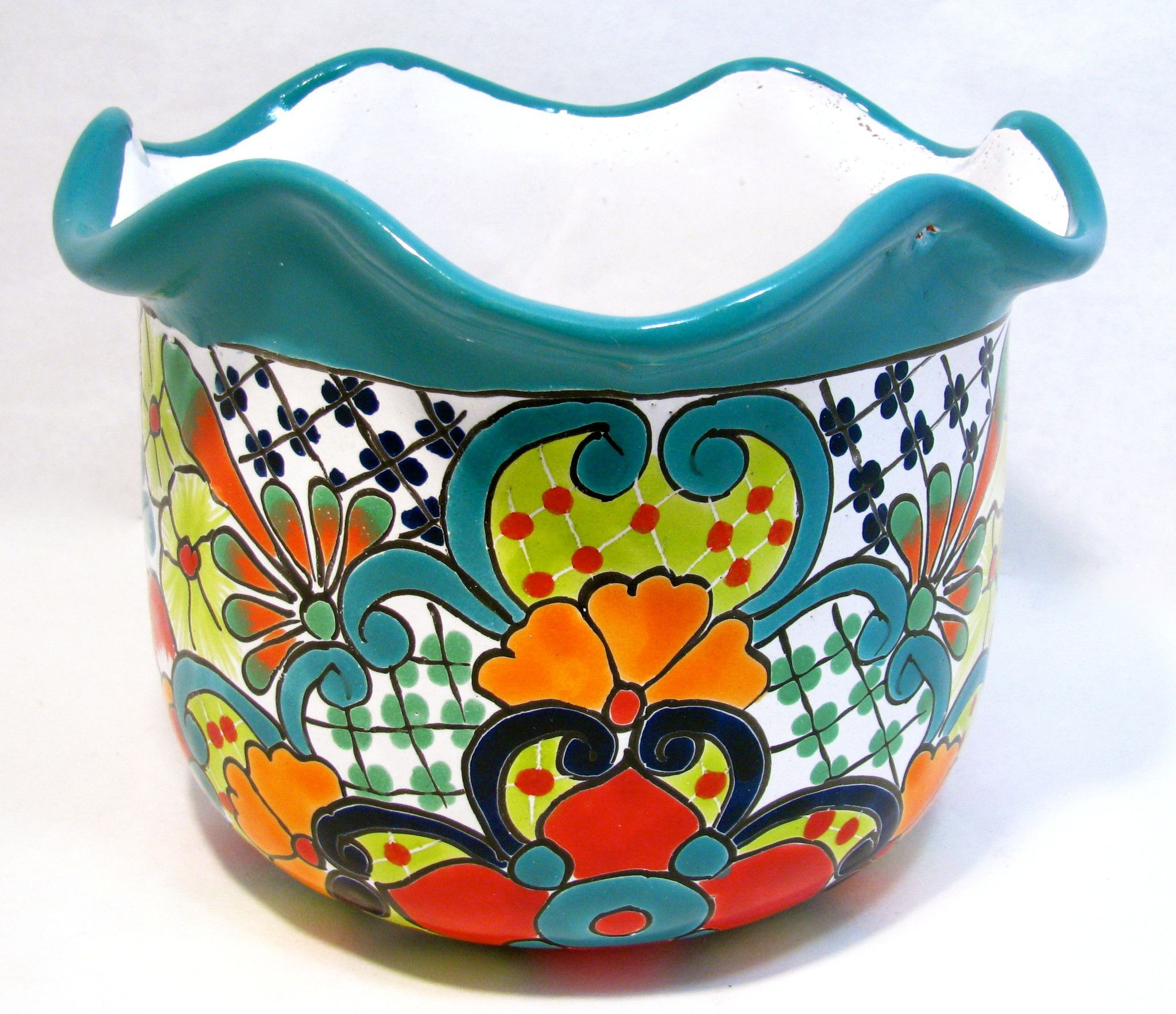 TALAVERA MEXICAN POTTERY 1 Assorted Colors - GARDEN TUB Med PLANTER
