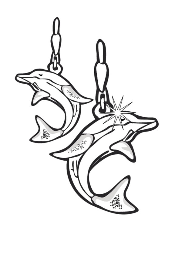 Dolphin Earrings Jewelry Coloring Page Coloring Sky Coloring Pages Dolphin Earrings Printable Coloring Pages