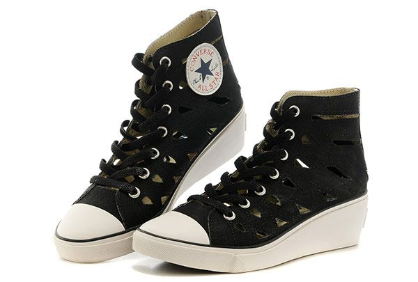 2e1bb5126bf0 Black Converse All Star High Tops Mermaid Chuck Taylor Women Wedge Heel  Shoes  converse  shoes
