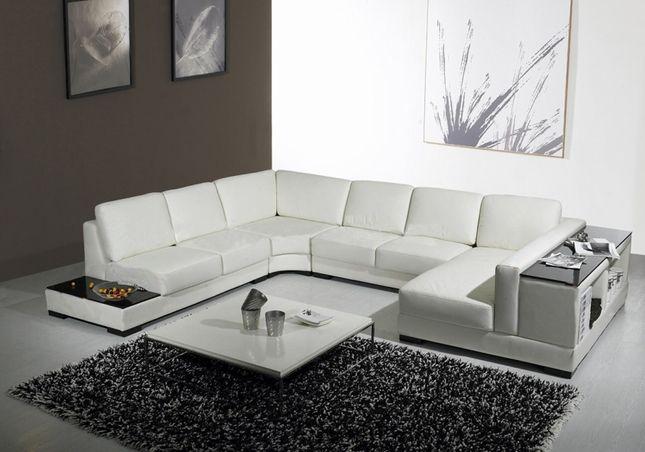 Modern White Leather Sofa W End Table Storage Shelves Modern Sofa Sectional Sectional Sofa Modern White Leather Sofa
