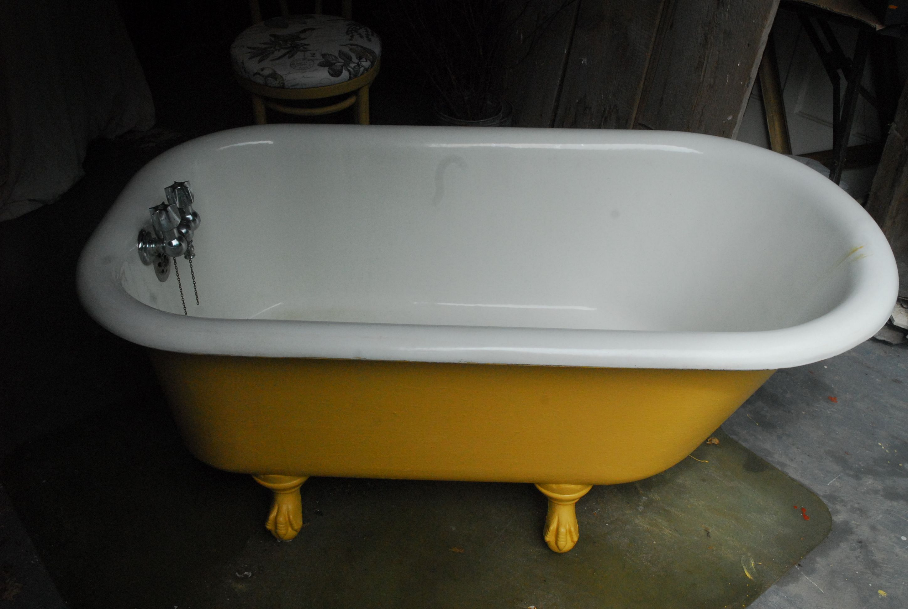 antique claw foot cast iron tub...painted out in Annie Sloan chalk ...